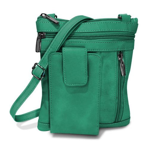 On The Go AFONiE Genuine Leather Messenger Bag- Green Color