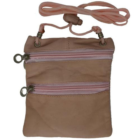 Small Soft Leather Cross Body Purse-Pink Color