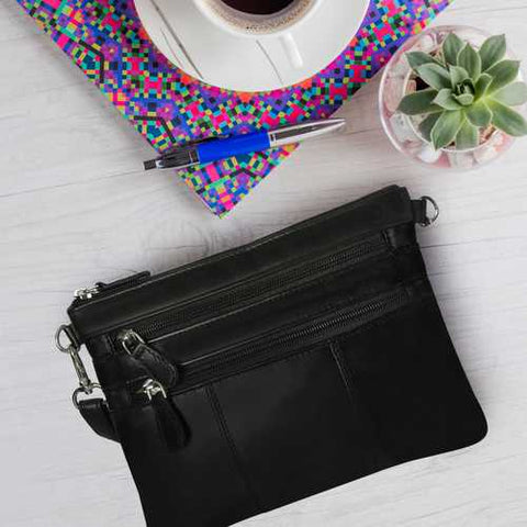 Small Glazed Leather Crossbody Bag & Night Clutch