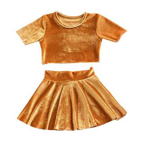 2pcs Velvet Girls Clothing Set
