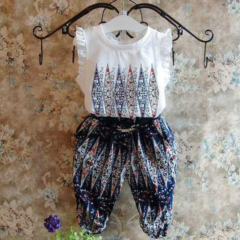2Pcs Bohemian Girls Kids Clothing Set