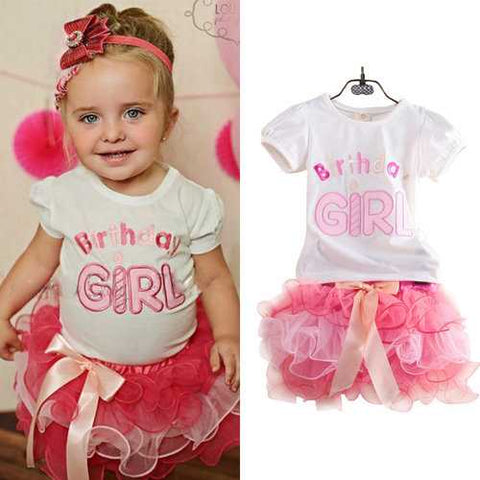 2Pcs Birthday Girl Summer Set