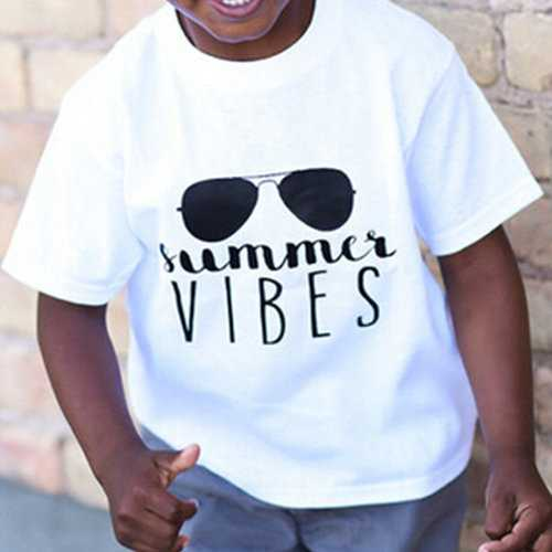 Letter Print Boys Tops &T-shirt For 1Y-7Y