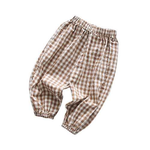 Soft Cotton Boys Plaid Pants For 2-9Y