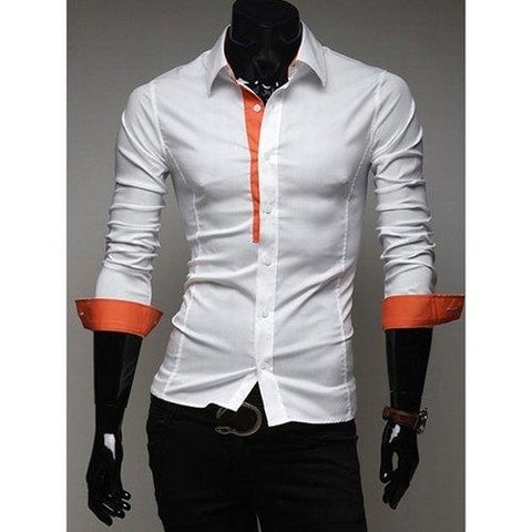 Casual Style Fitted Shirt Collar Chic Color Splicing Long Sleeves Polyester Shirt For Men - Orange L