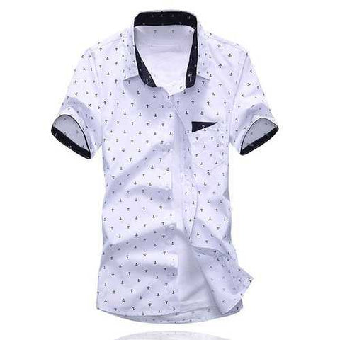 Summer Style Turn-down Collar Full Anchor Print Purfled Short Sleeves Cotton Shirt For Men - White M