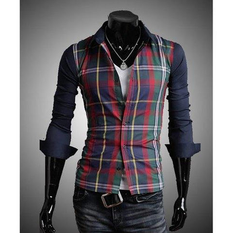 Fashion Style Turn-down Collar Slimming Color Block Checked Splicing Long Sleeves Men's Cotton Blend Shirt - Red And Green 2xl