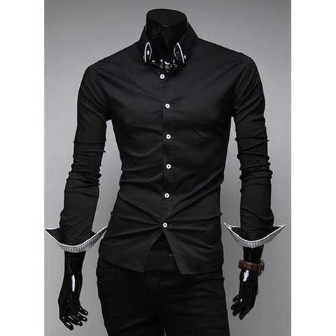 Slimming Trendy Turn-down Collar Stylish Stripes Tipping Solid Color Long Sleeves Men's Cotton Blend Shirt - Black M