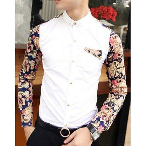 Fashion Style Turn-down Collar Slimming Floral Print Splicing Long Sleeves Men's Cotton Blend Shirt - White M