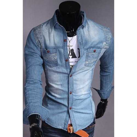 Fashion Style Turn-down Collar Slimming Personality Print Embellished Long Sleeves Men's Denim Shirt - Light Blue Xl