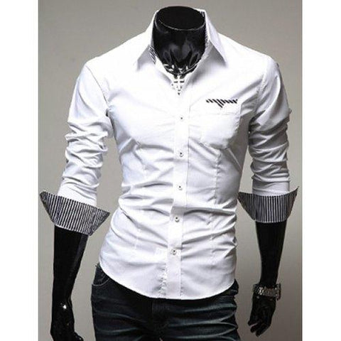 Casual Style Turn-down Collar Slimming Individual Stripes Print Long Sleeves Men's Polyester Shirt - White M