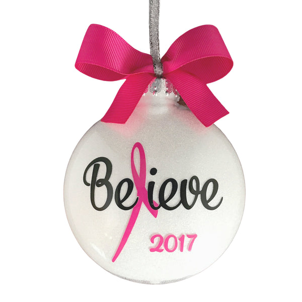 Breast Cancer Christmas Ornaments, Pink Ribbon