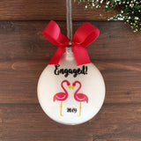 Engagement Christmas Ornament, Pink Flamingos