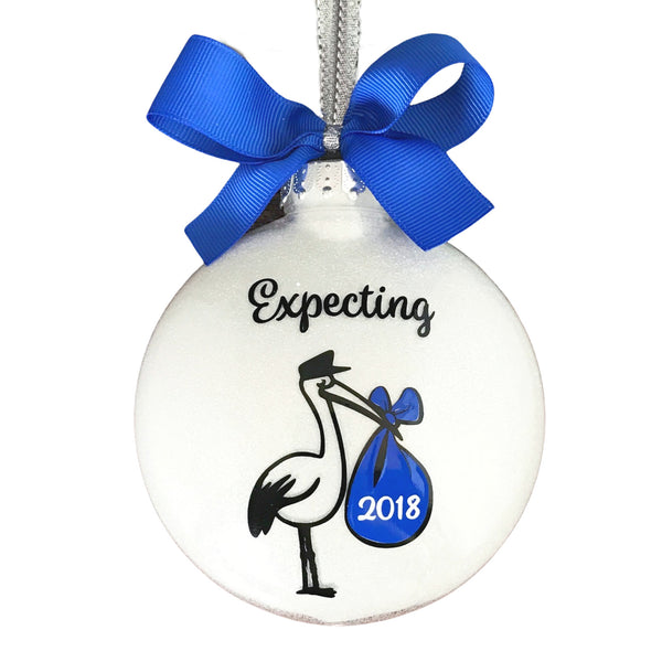 Expecting Ornament, Pregnant Christmas Ornament Boy