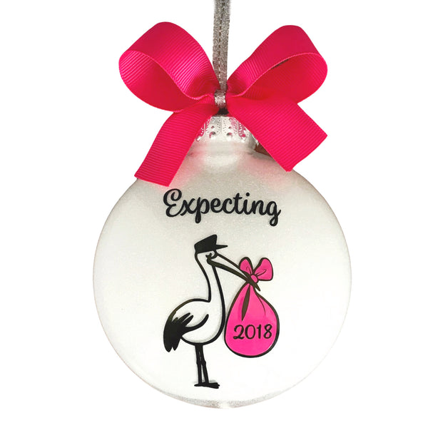 Expecting Baby Ornament, Pregnant Ornament Girl