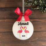 Personalized Wedding Christmas Ornament, Flamingos