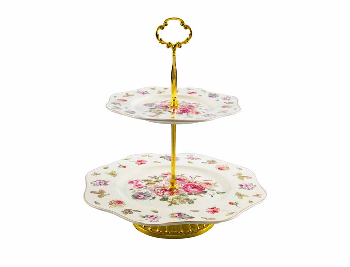 Posh Two-Tiered Porcelain Tray