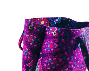 Close-up of Purple Mandala Shoulder Bag Cotton Handbag by Idaman Suri