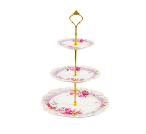 Floral Three-Tiered Porcelain Tray