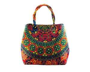 Multicoloured Mandala Shoulder Bag Cotton Handbag by Idaman Suri
