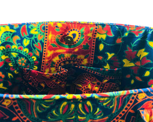 Inner Pockets of Multicoloured Mandala Shoulder Bag Cotton Handbag by Idaman Suri