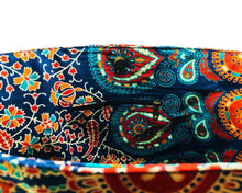 Inner Zip of Blue and Orange Mandala Cotton Handbag by Idaman Suri