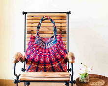 Blue and Orange Mandala Cotton Handbag by Idaman Suri