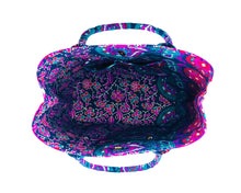 Top view of Purple and Blue Mandala Cotton Handbag by Idaman Suri
