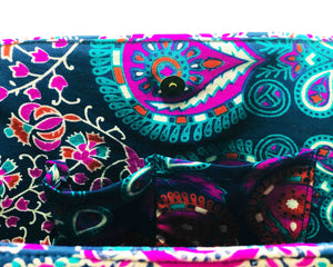 Inner Pockets of Purple and Blue Mandala Cotton Handbag by Idaman Suri