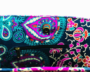 Inner Zip of Purple and Blue Mandala Cotton Handbag by Idaman Suri