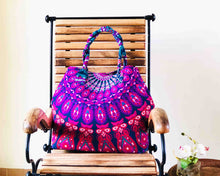 Purple and Blue Mandala Cotton Handbag by Idaman Suri