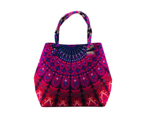 Pink and Blue Mandala Cotton Handbag by Idaman Suri