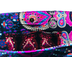 Inner Pockets of Pink and Blue Mandala Cotton Handbag by Idaman Suri