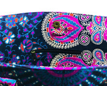 Inner Zip of Pink and Blue Mandala Cotton Handbag by Idaman Suri