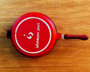 Top Angle Red Non-Stick Double Round Frying Pan 26cm by Idaman Suri