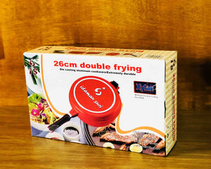 Red Non-Stick Double Round Frying Pan 26cm Box by Idaman Suri