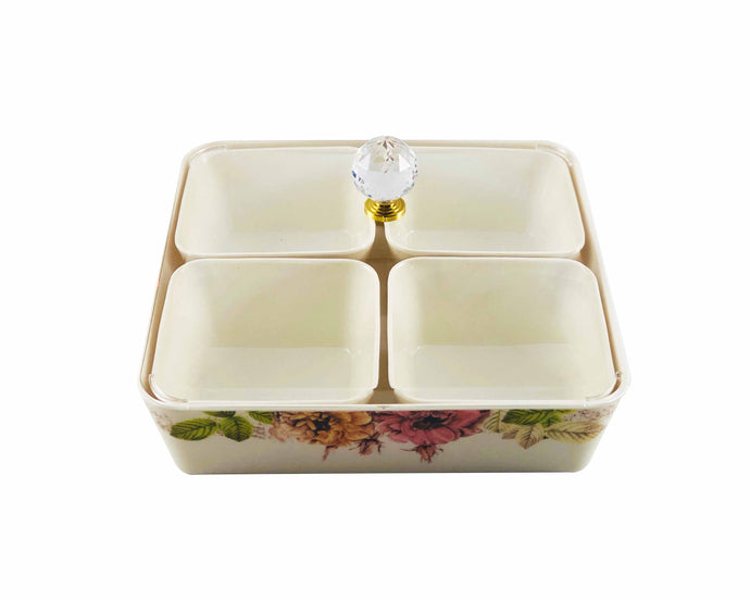 Melamine Snack Tray with Four Compartments