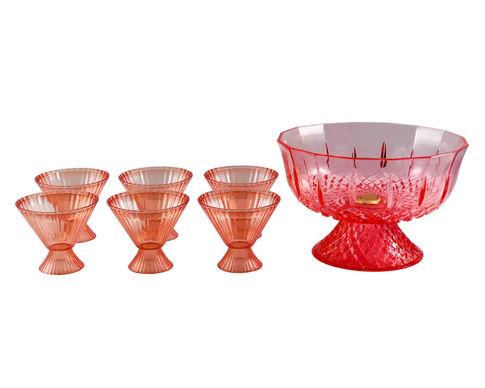 Acrylic Red Punch Bowl Set