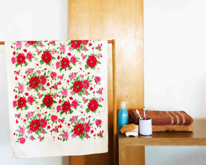 Opened Red and Pink Floral Cotton Towel by Idaman Suri