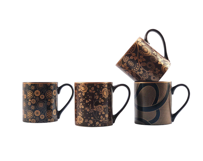 Brown Floral Mug Set
