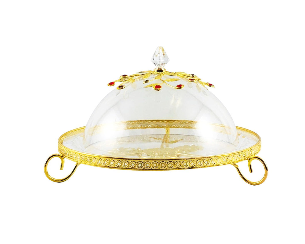 Flat Acrylic Dessert Server with Dome