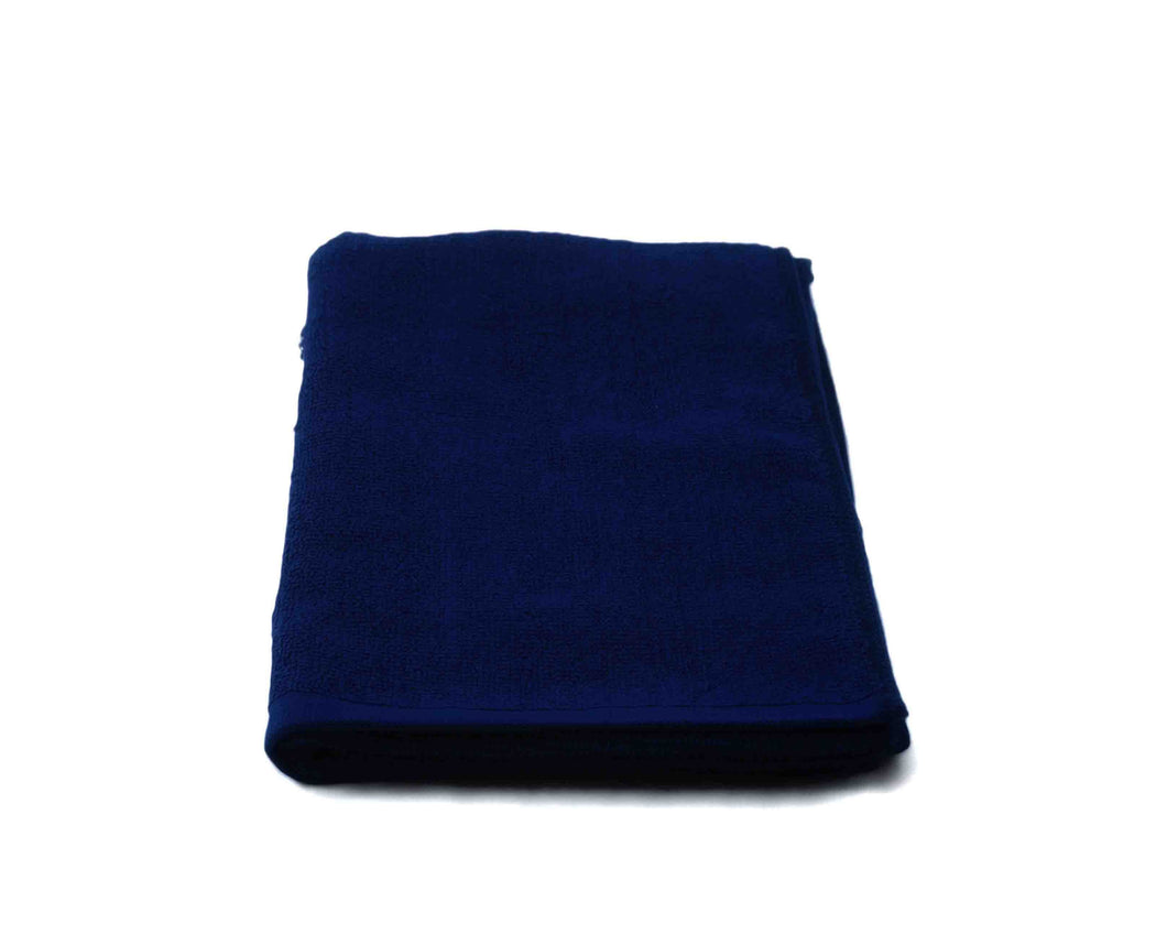 Folded Dark Blue Cotton Towel by Idaman Suri