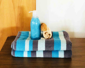 2 Folded Striped Cotton Towels by Idaman Suri