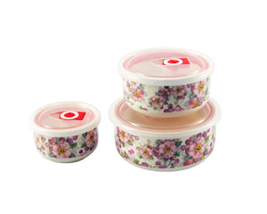 Floral Ceramic Container Set