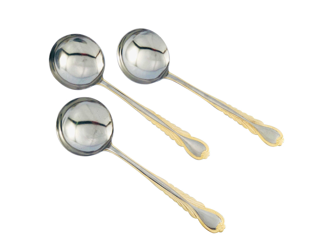 Oro 3pcs Gold and Stainless Steel Soup Ladle