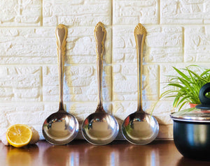 Aur 3pcs Gold and Stainless Steel Soup Ladle