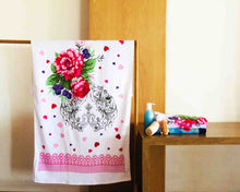 Opened Pink Floral Cotton Towel by Idaman Suri