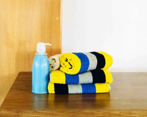 4 Striped Mix-Color Cotton Towels by Idaman Suri
