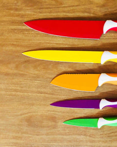 Close-up view of Mix-Colored Non-Stick Knife Blades by Idaman Suri