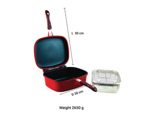 Red Double Deep Frying Pot 30cm